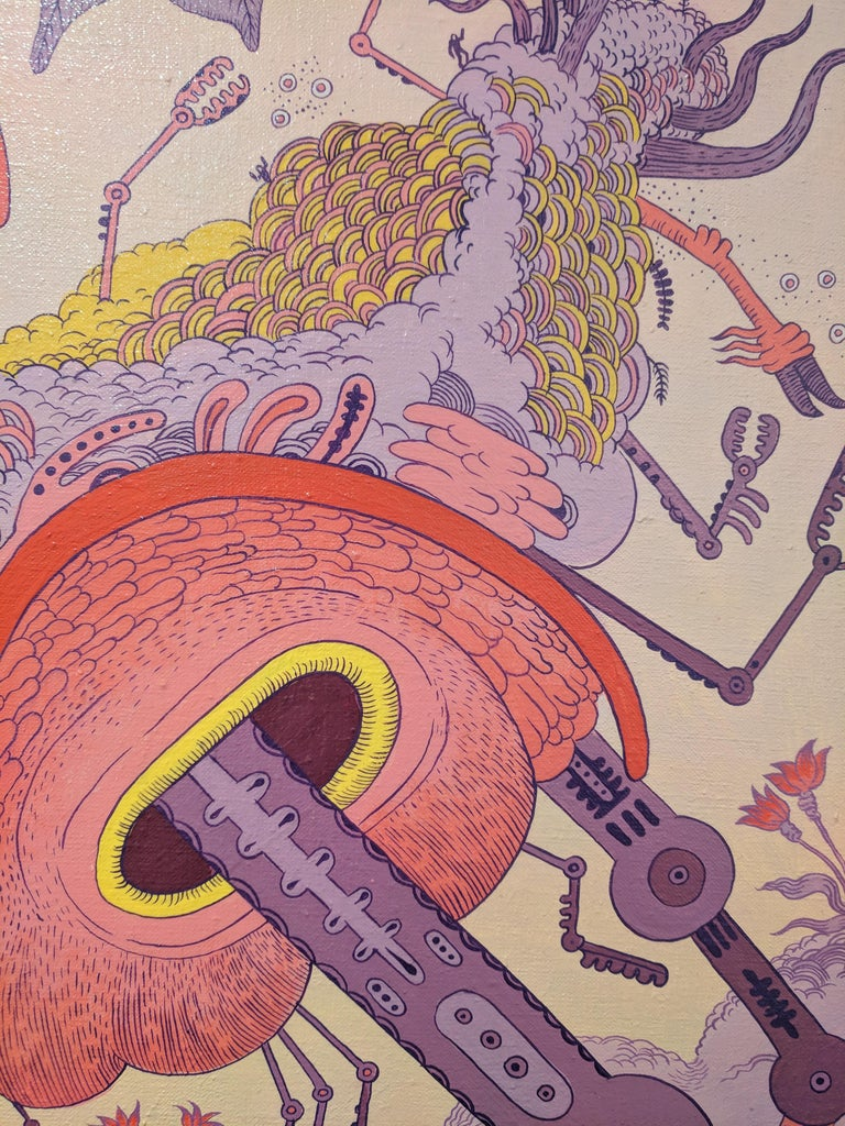 Ludditebot, Pink Lavender Yellow Futuristic Animal Robot Fantasy Landscape For Sale 5