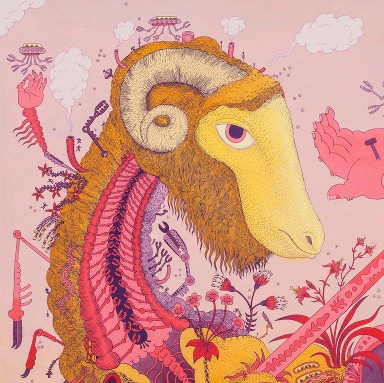 Ludditebot, Pink Lavender Yellow Futuristic Animal Robot Fantasy Landscape For Sale 6