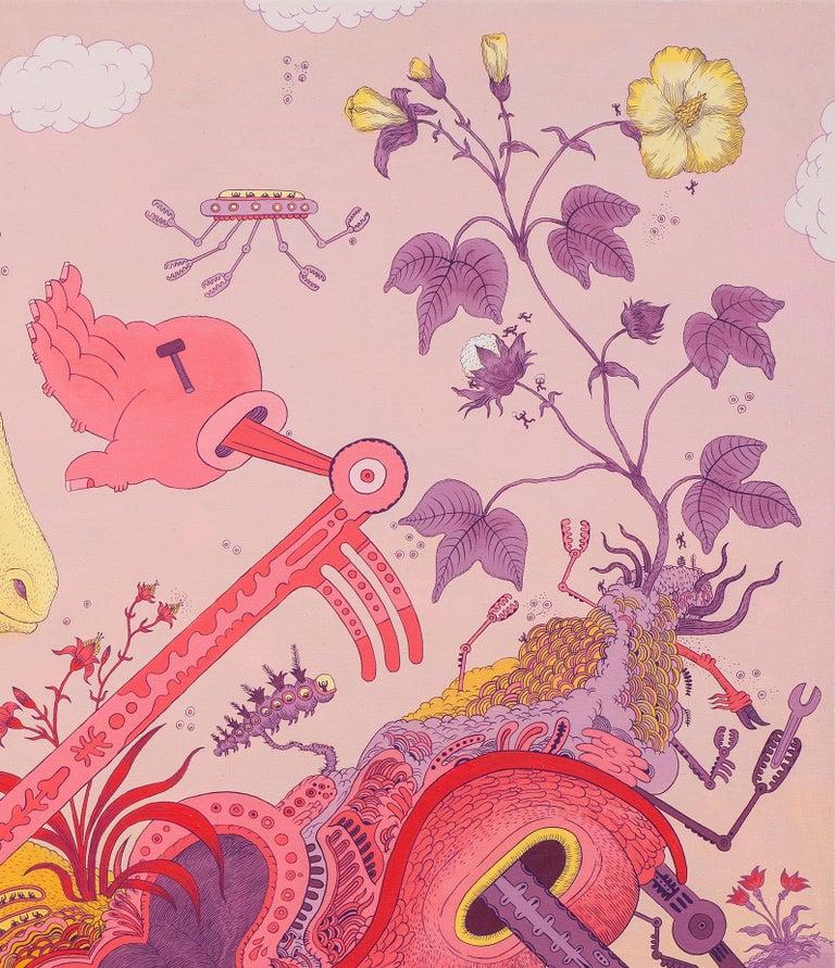 Ludditebot, Pink Lavender Yellow Futuristic Animal Robot Fantasy Landscape For Sale 7