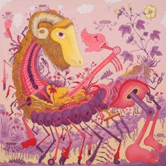 Ludditebot, Pink Lavender Yellow Futuristic Animal Robot Fantasy Landscape