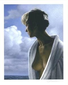 """Peter Hande -l """"Judith in front of the Sea"""" - signed nude pigment graphic"""