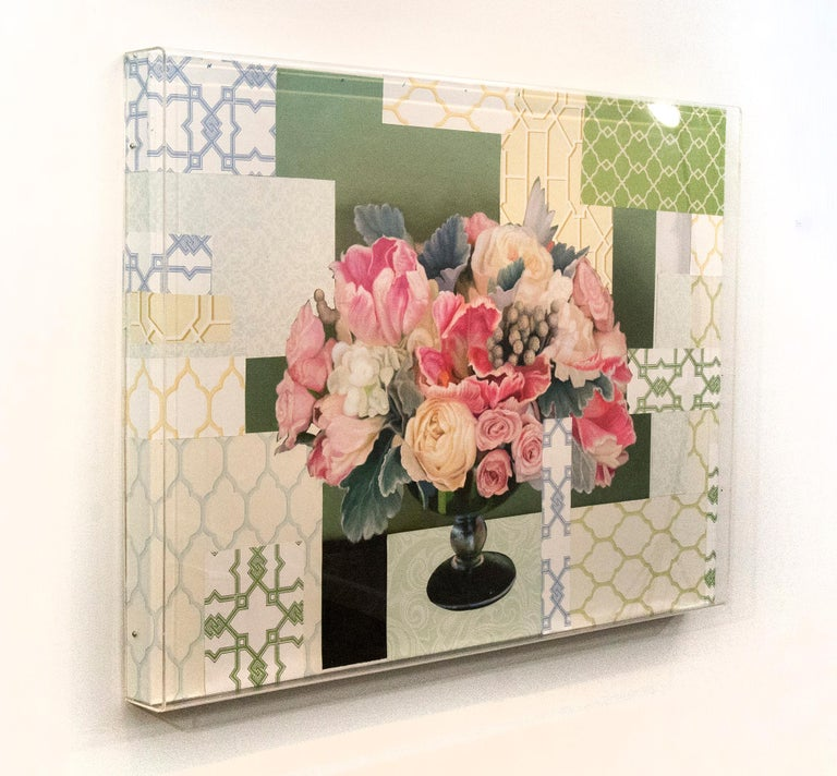 Arrangement in Soft Pink - acrylic, vintage paper, floral collage in plexiglass - Painting by Peter Hoffer