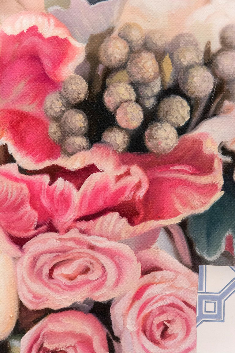 Rendered realistically in shades of pink and green, an arrangement of roses is juxtaposed with collage. This mixed media composition by Peter Hoffer incorporates a rich assortment of vintage wallpaper with passages of acrylic. The work is encased in