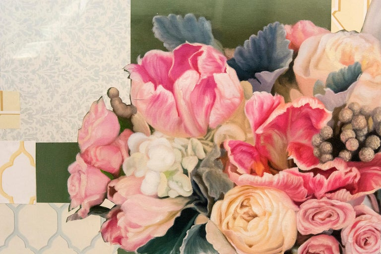 Arrangement in Soft Pink - acrylic, vintage paper, floral collage in plexiglass For Sale 3