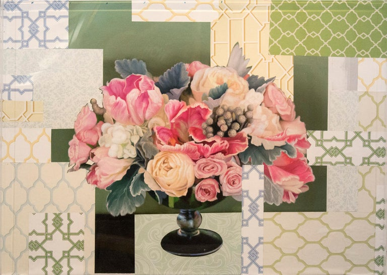 Peter Hoffer Still-Life Painting - Arrangement in Soft Pink - acrylic, vintage paper, floral collage in plexiglass