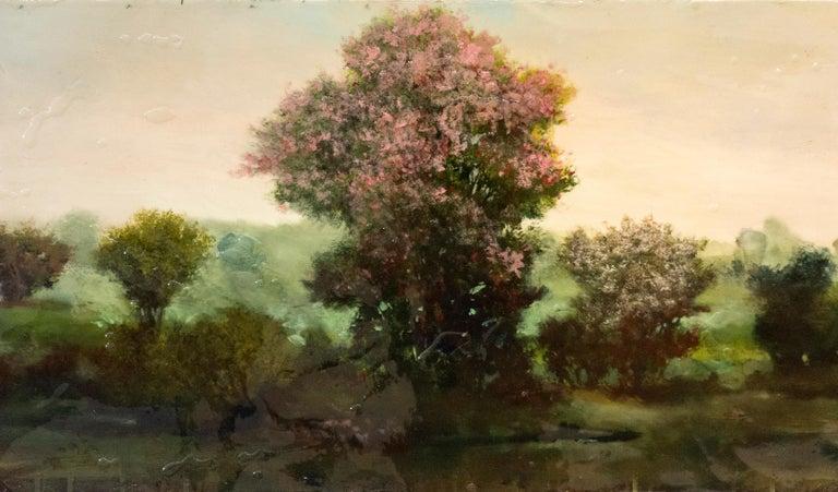 Azalea - Black Landscape Painting by Peter Hoffer