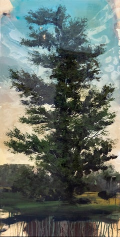 Blue - large, tree, landscape, contemporary, impressionist, mixed media on panel