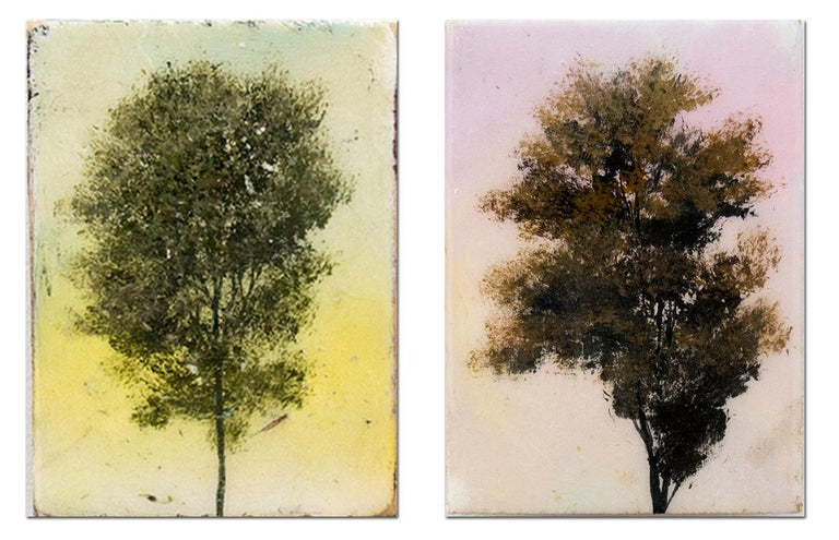 Cameo Pair - small, diptych, colourful, trees, resined, acrylic, oil, on panel - Mixed Media Art by Peter Hoffer
