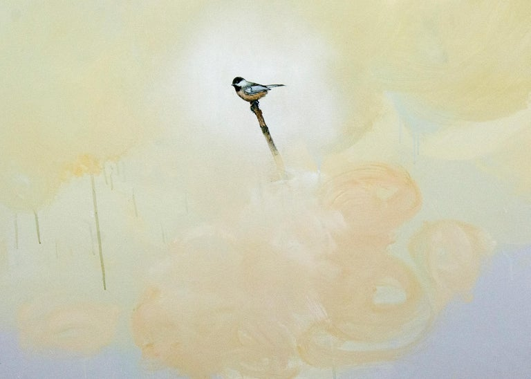 Perched on a branch, a lone chickadee is enveloped in a cloud of dusty yellow, peach and mauve in this atmospheric painting by Peter Hoffer.   Peter Hoffer was born in Brantford, ON. 1965. He has a M.F.A. from Concordia University in Montréal,