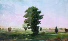 Course - green, mauve, pink, impressionist, tree, acrylic, resin on panel