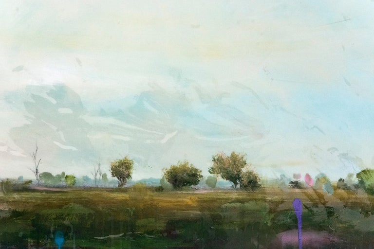 East - Gray Landscape Painting by Peter Hoffer
