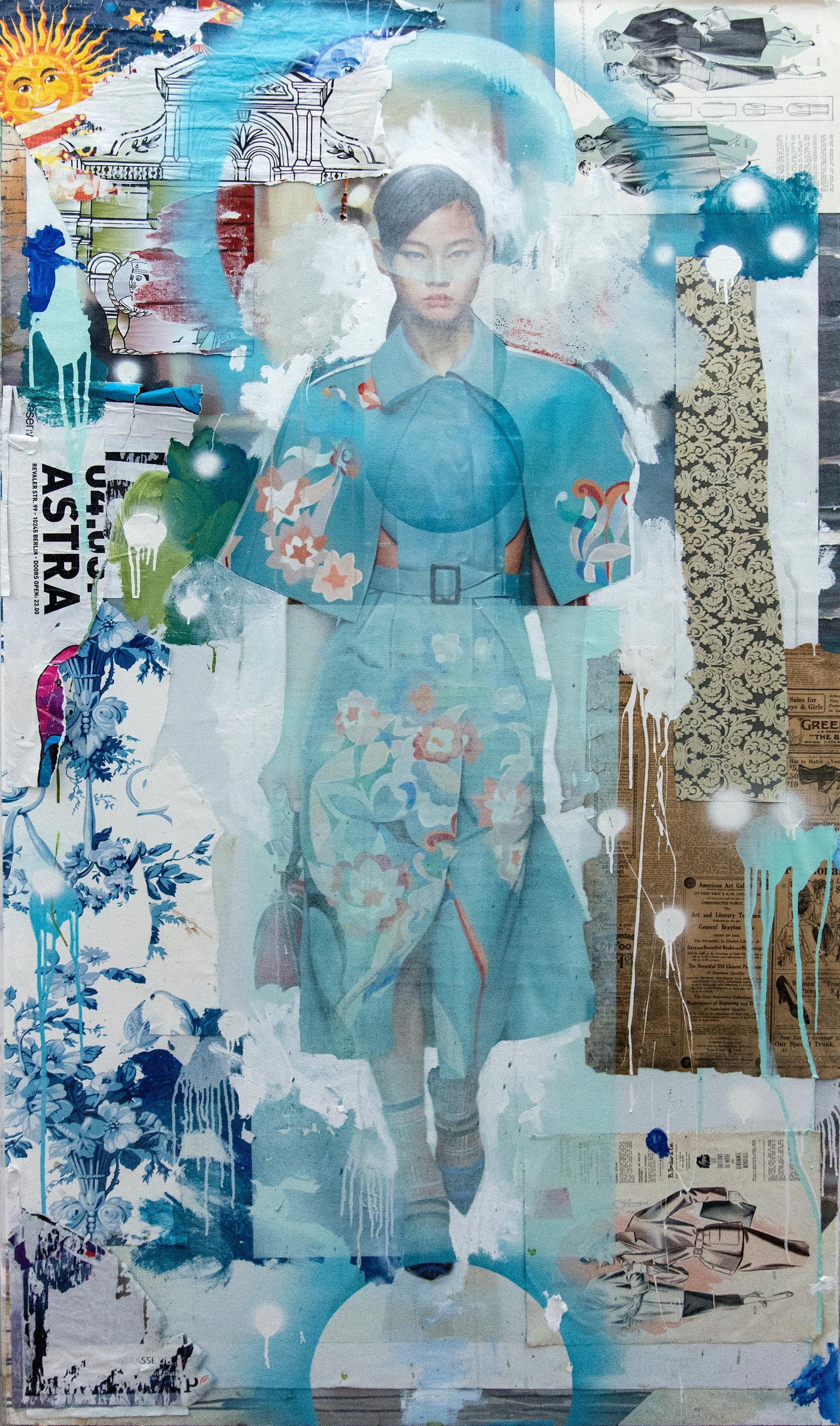 Fendi - acrylic, oil, vintage paper, fashion female model, collage in plexiglass