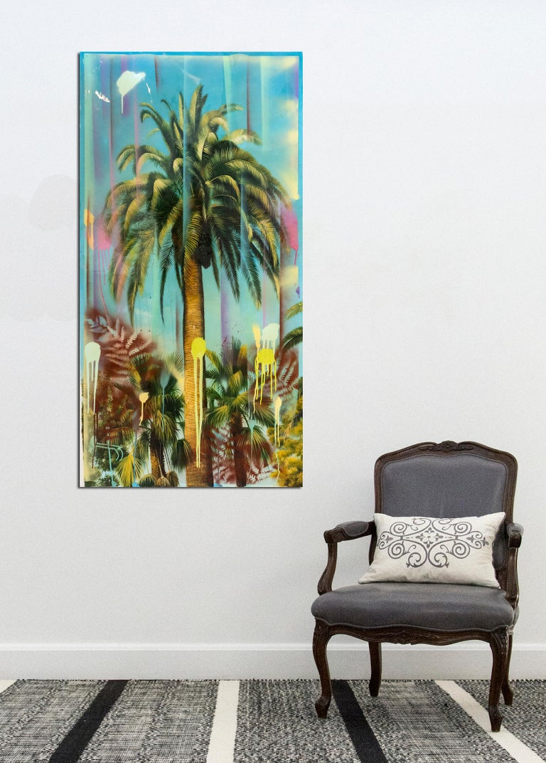 A tall palm tree rises from a tangled ground of green, pink and lime in this 'portrait' by Peter Hoffer. The artist's skilled rendering is finished with a layer of glossy resin. This painting on wood panel is unframed.  Peter Hoffer (b. 1965,