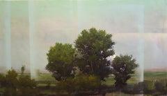 """Peter Hoffer """"Mehringdamm"""" -- Landscape Painting on Panel"""