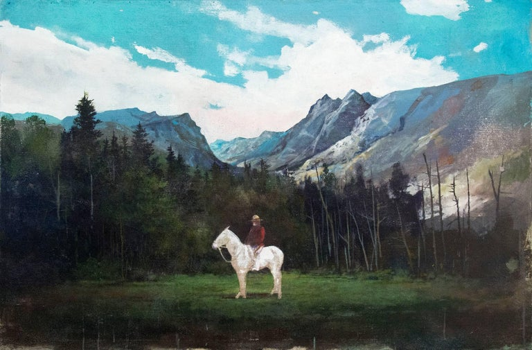 The iconic presence of a Mountie in red serge on a ghostly white horse is set against the backdrop of a mountain landscape. Peter Hoffer's epic paintings evoke nostalgia for classical, romantic forms and periods. Here he seems to look to the sublime