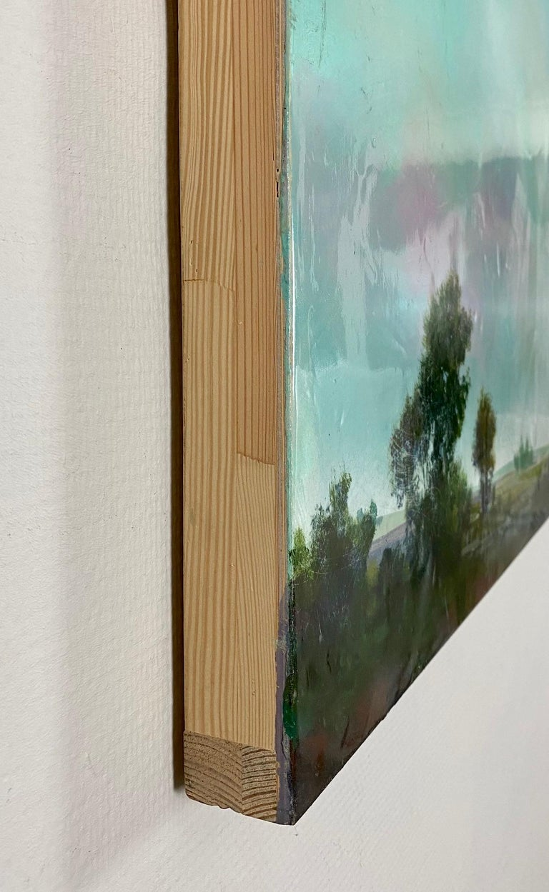 Acrylic and epoxy on board.  Hoffer's contemporary paintings have been described as being as much about studio materials and techniques as the subjects they convey. He begins his paintings of landscapes and waterfalls with oil paint on wood panels