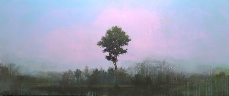"""Peter Hoffer """"La Tour"""" -- Landscape Oil and Resin Painting on Wood Panel - Purple Landscape Painting by Peter Hoffer"""