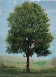 ''Silhouette 1'' Contemporary Canadian Landscape Painting of a Tree