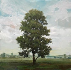 ''Vermeer' Contemporary Canadian Landscape Painting with Moving Sky and Tree