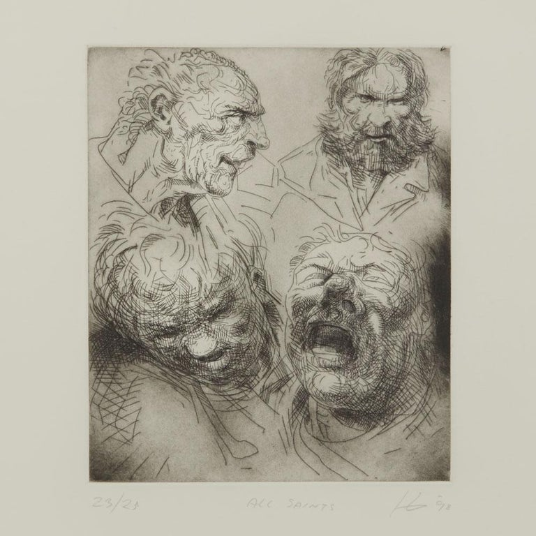 A Peter Howson limited edition framed print titled 'All Saints' from The Underground Series derived from quick sketches which he drew while travelling around London. The print is numbered 23 from an edition of 25 and each depicts a character named