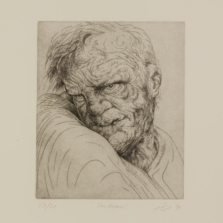 A Peter Howson limited edition framed print titled 'Holborn' from The Underground Series derived from quick sketches which he drew while travelling around London. The print is numbered 23 from an edition of 25 and each depicts a character named