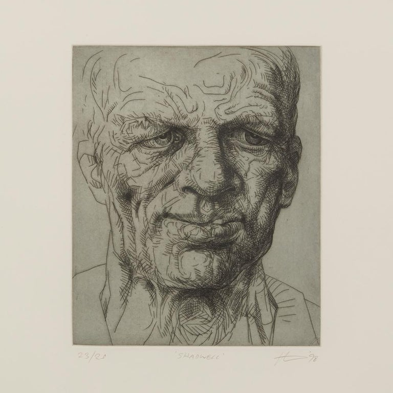 A Peter Howson limited edition framed print titled 'Shadwell' from The Underground Series derived from quick sketches which he drew while travelling around London. The print is numbered 23 from an edition of 25 and each depicts a character named