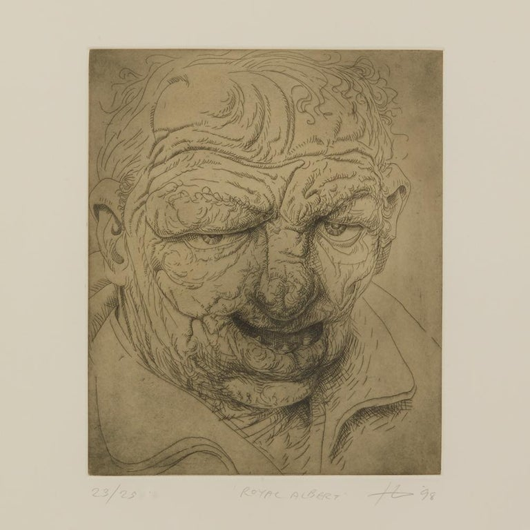 A Peter Howson limited edition framed print titled 'Royal Albert' from The Underground Series derived from quick sketches which he drew while travelling around London. The print is numbered 23 from an edition of 25 and each depicts a character named