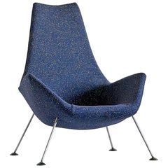 Peter Hoyte Lounge Chair in Blue Raf Simons Bouclé Fabric, England, 1960s