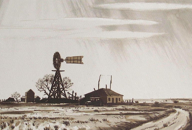 DUSTY WINDMILL, Signed Lithograph, Ranch Landscape, Southwest Art, Sepia Brown - Print by Peter Hurd