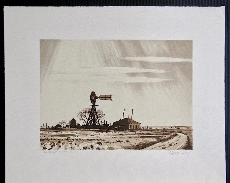 DUSTY WINDMILL, Signed Lithograph, Ranch Landscape, Southwest Art, Sepia Brown - Beige Print by Peter Hurd
