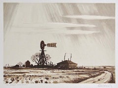DUSTY WINDMILL, Signed Lithograph, Ranch Landscape, Southwest Art, Sepia Brown