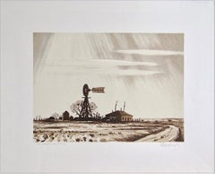DUSTY WINDMILL Signed Lithograph, Ranch House, Wood Windmill, Sepia Brown