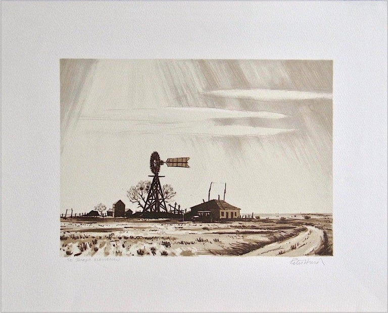 Peter Hurd Print - DUSTY WINDMILL Signed Lithograph, Ranch House, Wood Windmill, Sepia Brown