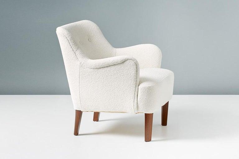 Danish Peter Hvidt 1940s Pair of Boucle Armchair for Fritz Hansen For Sale