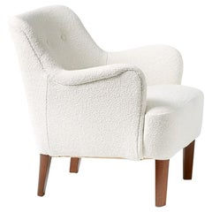 Peter Hvidt 1940s Boucle Armchair for Fritz Hansen
