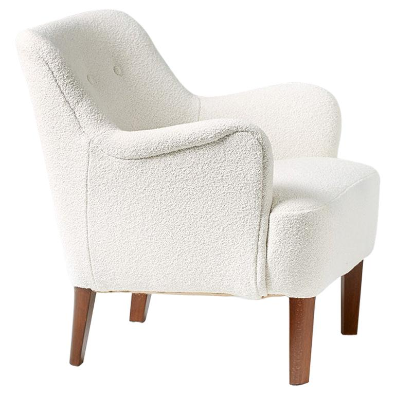 Peter Hvidt 1940s Pair of Boucle Armchair for Fritz Hansen For Sale