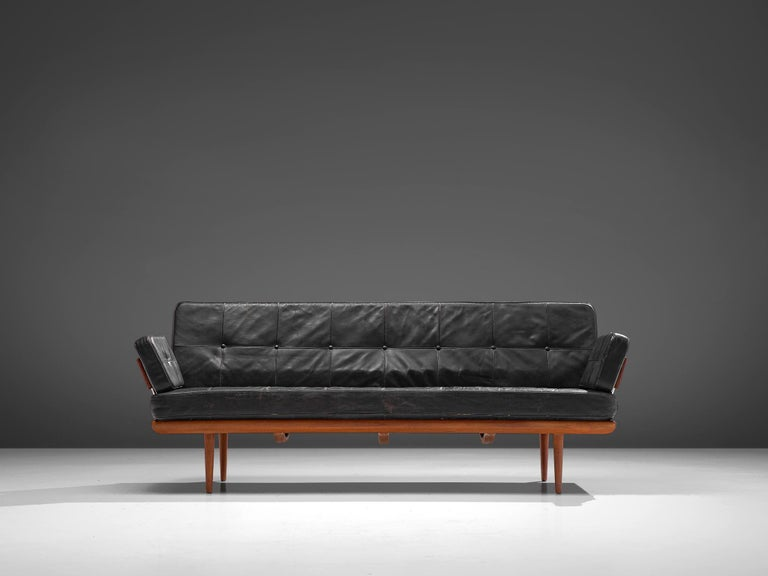 Peter Hvidt and Orla Mølgaard-Nielsen for France & Søn, 'Minerva' daybed, teak, metal and leather, Denmark, design 1957, production 1960s.