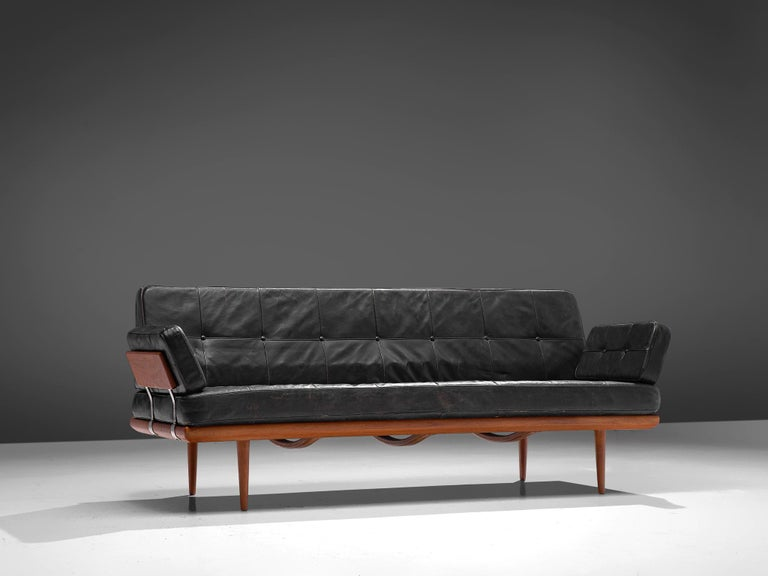 Scandinavian Modern Peter Hvidt and Orla Mølgaard-Nielsen 'Minerva' Daybed in Original Leather For Sale