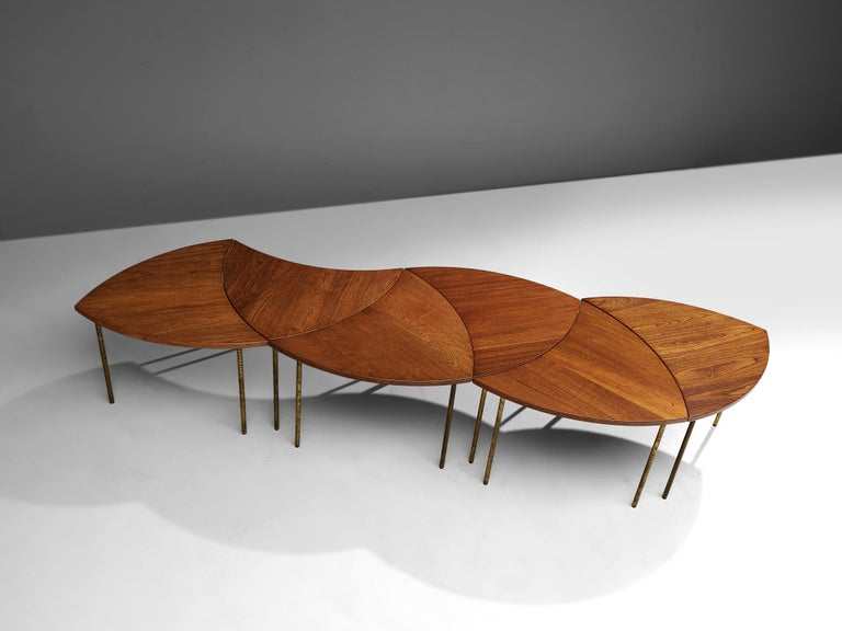 Peter Hvidt and Orla Mølgaard Nielsen Six-Piece Coffee Table For Sale 3
