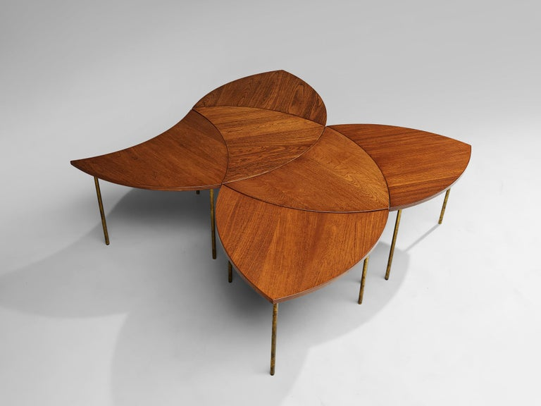 Peter Hvidt and Orla Mølgaard Nielsen Six-Piece Coffee Table For Sale 4