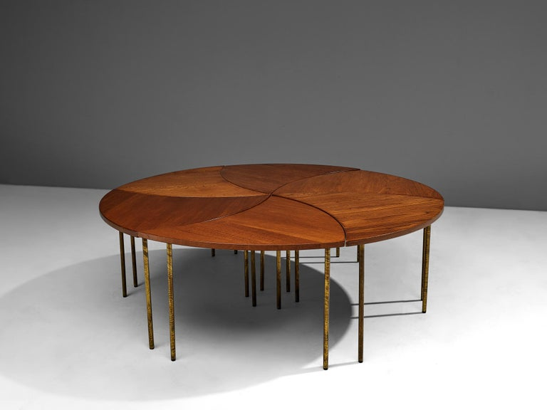 Peter Hvidt and Orla Mølgaard Nielsen Six-Piece Coffee Table In Good Condition For Sale In Waalwijk, NL