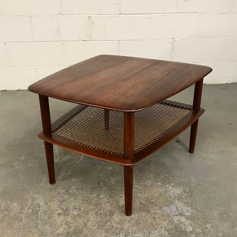 Scandinavian Modern Peter Hvidt and Orla Molgaard Nielsen Tiered Teak Side Table For Sale