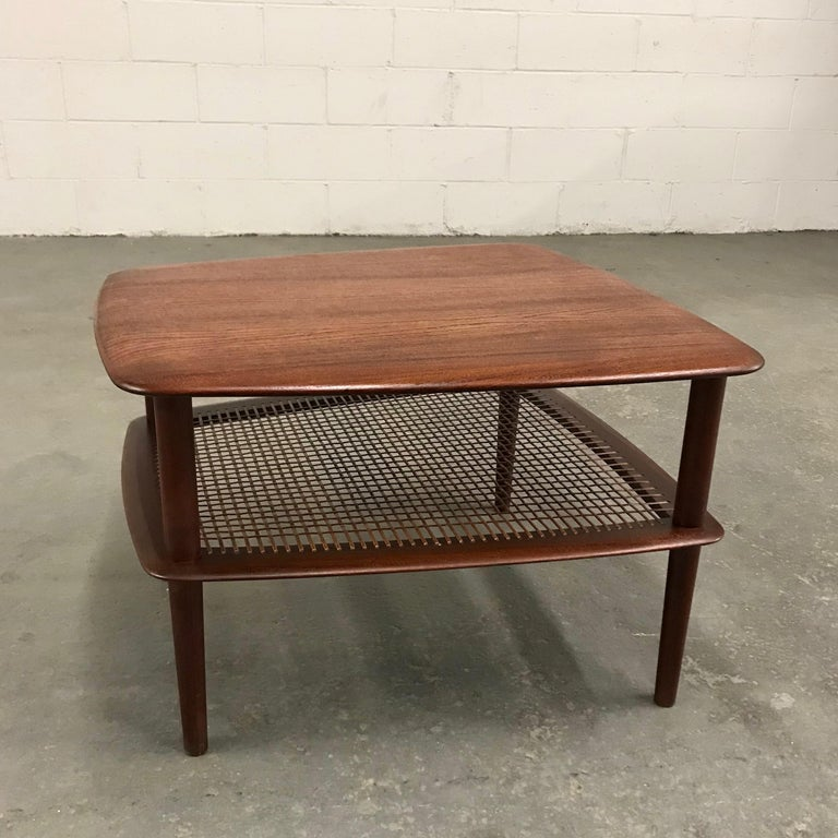 Peter Hvidt and Orla Molgaard Nielsen Tiered Teak Side Table In Good Condition For Sale In Brooklyn, NY