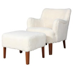 Peter Hvidt Early Lounge Chair and Ottoman in Lambskin