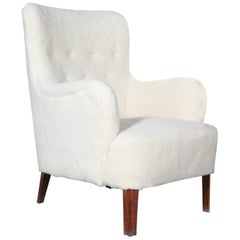 Peter Hvidt Early Lounge Chair in Sheepskin