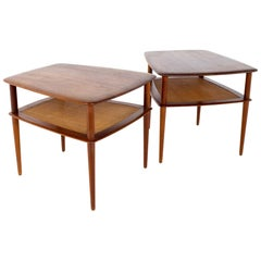 Peter Hvidt for France and Sons MCM Teak and Cane Side End Tables, a Pair