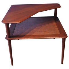 Peter Hvidt, France & Son of Denmark, Minerva Teak & Rattan 2-Tier Coffee Table