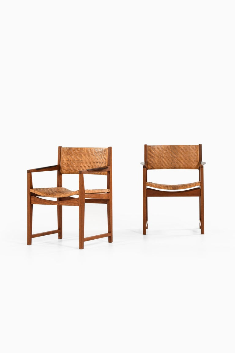 Rare pair of armchairs model 350 designed by Peter Hvidt & Orla Mølgaard-Nielsen. Produced by Søborg Møbler in Denmark. Price listed is / item.