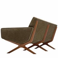 Peter Hvidt & Orla Mølgaard Nielsen Reupholstered Green Leather Silverline Sofa