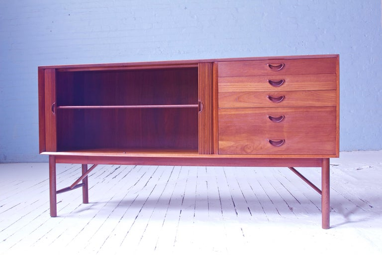 Scandinavian Modern Peter Hvidt & Orla Mølgaard Nielsen Tambour Sideboard in Teak, Denmark, 1958 For Sale